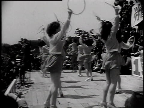 japanese women dancing on a stage while crowd watches / tokyo japan - 1947 stock videos & royalty-free footage