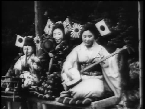 B/W 1898 2 Japanese women + girl in traditional clothing sitting + playing musical instruments