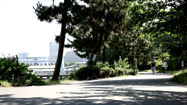 japanese women running fast in the park - side by side stock videos & royalty-free footage