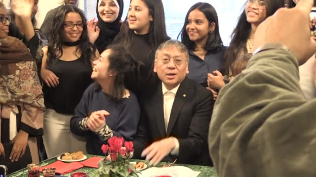 japanese writer kazuo ishiguro 2017 nobel literature prize laureate visits a library in stockholm's suburbs known for its high concentration of... - literature stock videos & royalty-free footage