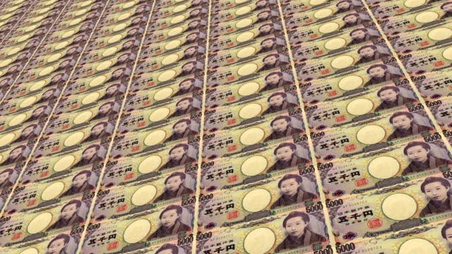 vidéos et rushes de billets d'yens japonais - symbole du yen