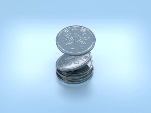 cgi japanese yen coins falling and forming stack on blue background - image manipulation stock videos and b-roll footage