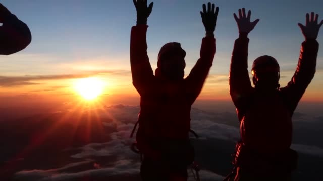 climbers atop mt. fuji watch the sunrise on july 1 the first day of the climbing season for japan's highest mountain straddling shizuoka and... - mt fuji stock videos & royalty-free footage