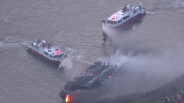 movie taken march 27 shows a burned houseboat anchored in tokyo's arakawa river after it caught fire earlier in the day no one sustained serious... - anchored stock videos & royalty-free footage