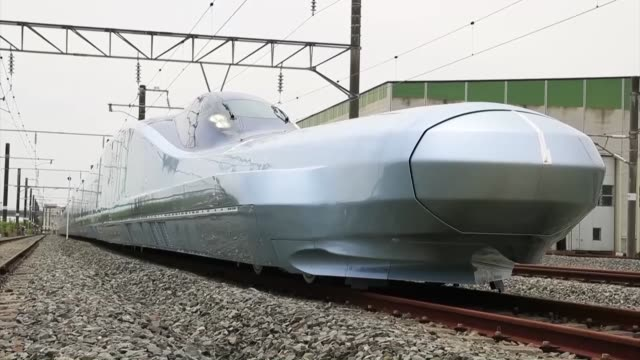 the recently completed alfax testbed of east japan railway co's nextgeneration bullet train is shown to the media at a railway yard in rif town... - prototype stock videos & royalty-free footage
