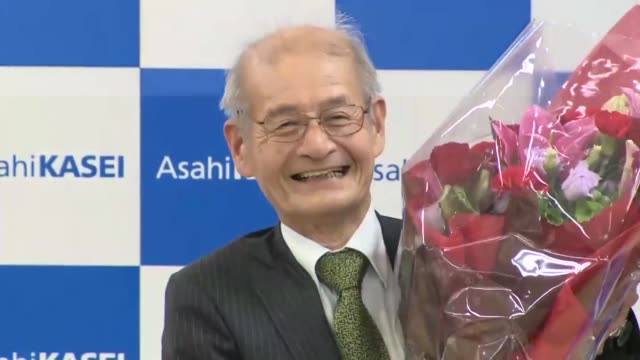 asahi kasei corp. honorary fellow akira yoshino meets the press in tokyo on oct. 9 after the royal swedish academy of sciences announced he won this... - lithium stock videos & royalty-free footage