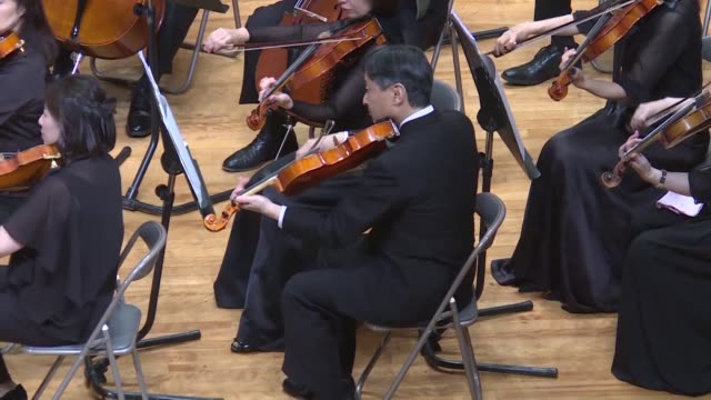 japan's crown prince naruhito set to be the next emperor after his father emperor akihito abdicates in april plays the viola at a music concert with... - emperor akihito stock videos and b-roll footage