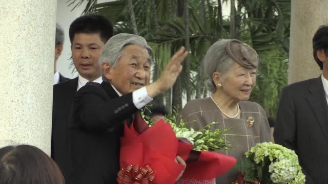 japan's emperor akihito and empress michiko arrive in vietnam's former capital city hue the second stop of their first visit to the southeast asian... - emperor akihito stock videos and b-roll footage