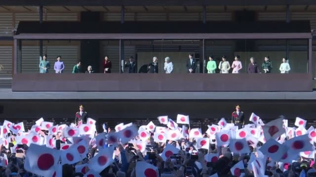 japan's emperor akihito delivers his final new year's address before his abdication later this year greeting thousands of well wishers who gathered... - emperor akihito stock videos and b-roll footage