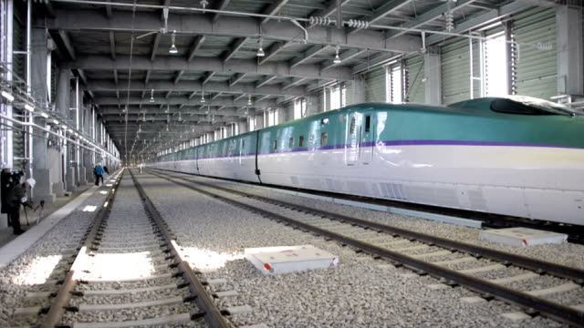 japan's hokkaido railway co. announced on thursday november 20 that the cabins of the new shinkansen bullet train set to run in japan's northern most... - led stock videos & royalty-free footage