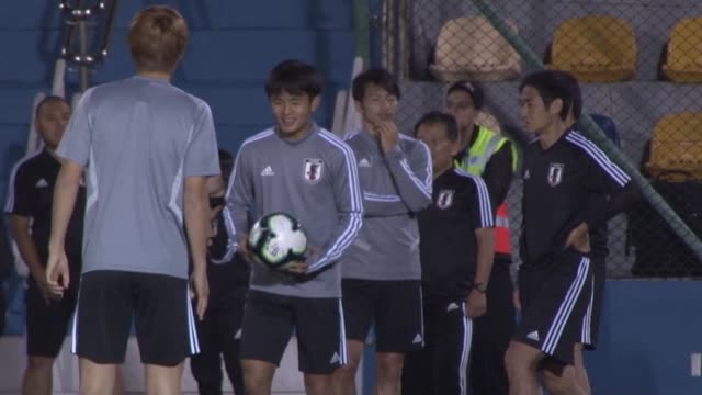 japan's national football team trains a day after losing 40 against chile in their copa america opener in brazil - brasile meridionale video stock e b–roll