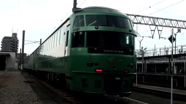 japan's railway company has added a car to the formation of popular europeanstyle luxury train serving hot spring resort in kyushu japan's... - oita prefecture stock videos & royalty-free footage