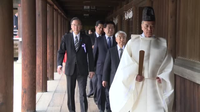 japan's yasukuni war shrine where senior convicted war criminals are honoured begins its spring festival during which scores of conservative... - respect stock videos & royalty-free footage