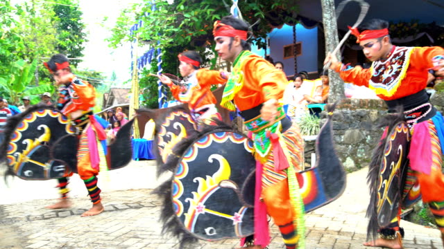 jaranan music dancers performing and playing instruments java - fancy dress costume stock videos and b-roll footage