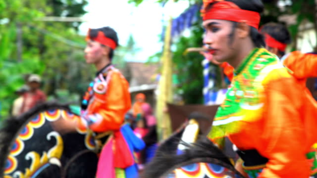 jaranan music dancers performing and playing instruments java - indonesia stock videos & royalty-free footage