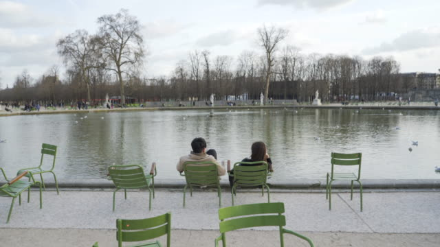jardin des tuileries paris in winter. - もたれる点の映像素材/bロール