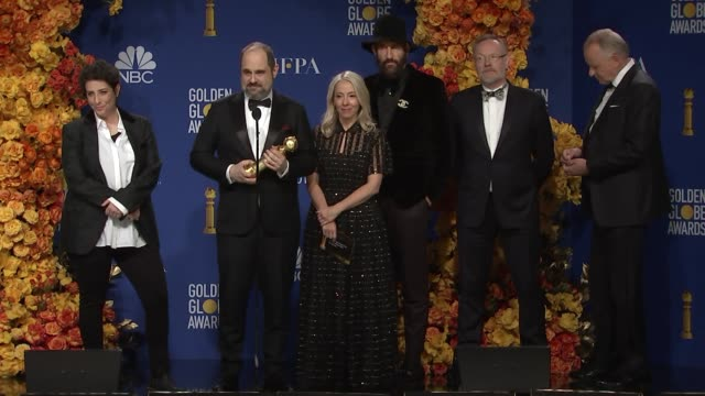 jared harris, craig mazin jane featherstone and the cast and crew of chernobyl at the 77th annual golden globe awards - press room at the beverly... - the beverly hilton hotel stock videos & royalty-free footage
