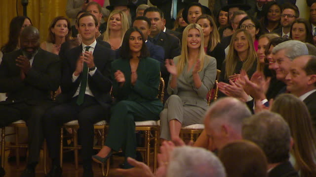 jared kushner, kim kardashian west and ivanka trump applaud during u.s. president donald trumpõs announcement on the first step act. - 2010 2019 stock videos & royalty-free footage