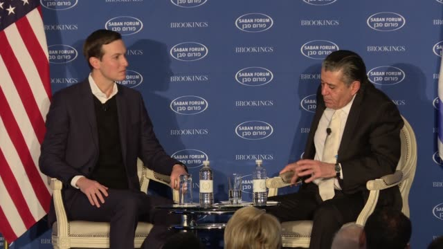 Jared Kushner makes a rare public appearance at the Saban Forum sponsored by the bipartisan Brookings Institution He talks generally about a number...