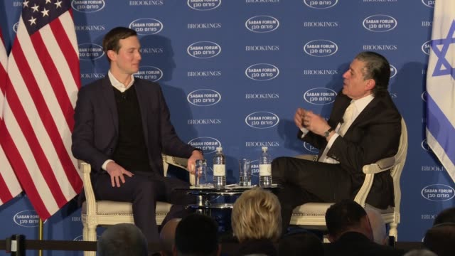 jared kushner makes a rare public appearance at the saban fourm sponsored by the bipartisan brookings institution he talks generally about a number... - 登場点の映像素材/bロール
