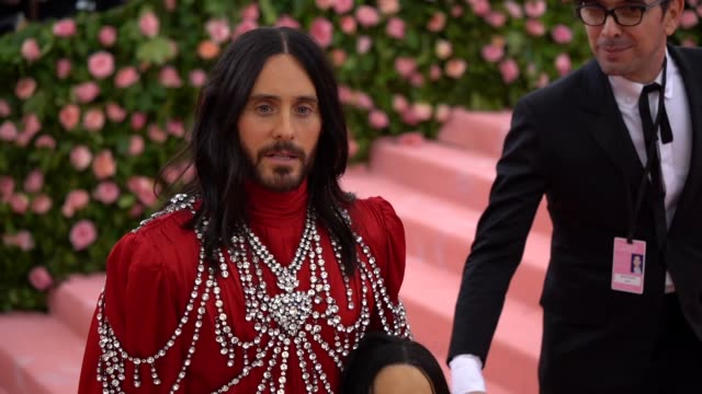 jared leto at the 2019 met gala celebrating camp notes on fashion arrivals at metropolitan museum of art on may 06 2019 in new york city - gala stock videos & royalty-free footage