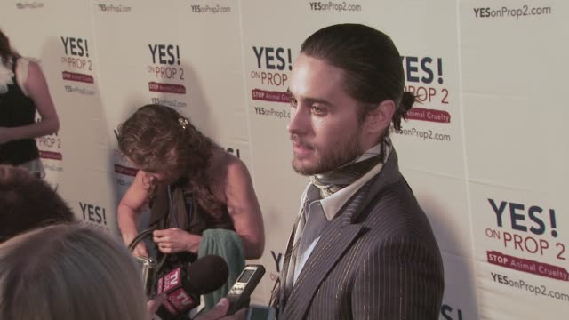 Jared Leto at the Ellen DeGeneres and Portia De Rossi host Yes On Prop 2 party at Los Angeles CA