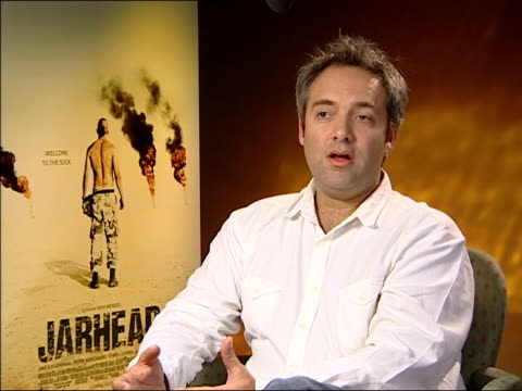 'jarhead' preview sam mendes interview sot important to make the film as accurate as possible/ i didn't want to soften the edges of it it's very much... - sam mendes stock videos & royalty-free footage