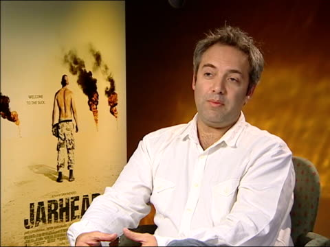 'jarhead' preview; sam mendes interview sot - well, that's a point of view/ don't want to defend your view of the movie/ i think it absolutely... - sam mendes stock videos & royalty-free footage