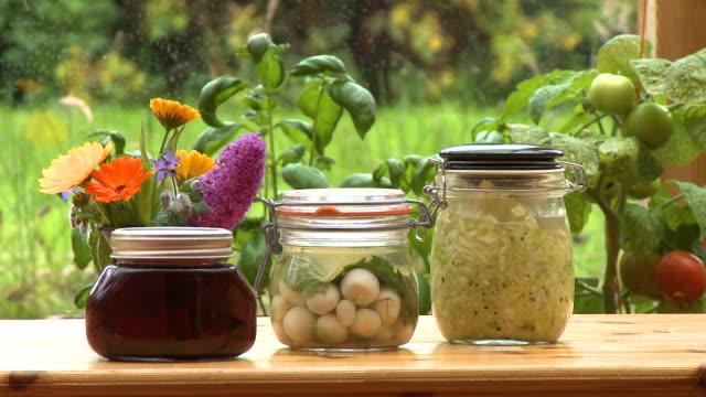 jars of garlic, jam, coleslaw - coleslaw stock videos & royalty-free footage