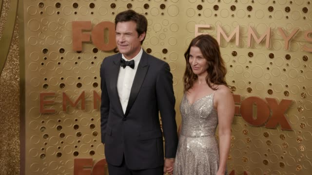 jason bateman and amanda anka at the 71st emmy awards - arrivals at microsoft theater on september 22, 2019 in los angeles, california. - emmy awards stock videos & royalty-free footage