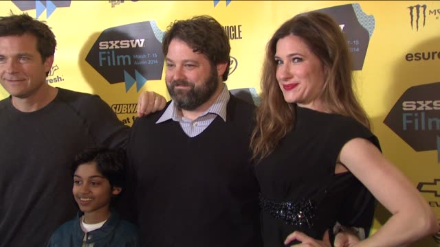"""jason bateman, rohan chand, andrew dodge and kathryn hahn at""""bad words"""" red carpet screening and party at sxsw presented by focus features at the... - キャスリン ハーン点の映像素材/bロール"""