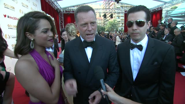 interview jason beghe monica raymund jon seda on their favorite monte carlo moments at the 54th montecarlo television festival day 5 on june 11 2014... - seda stock videos & royalty-free footage