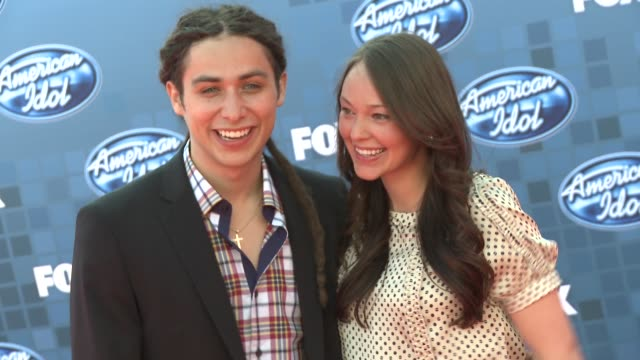 jason castro and mandy mayhall at the fox's 'american idol 2011' finale results show at los angeles ca - results show stock videos & royalty-free footage