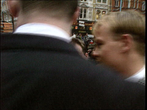 jason donovan libel case anat london side car rl and stops and jason donovan gets out london rl as towards stage door of palladium past crowds - libel stock videos & royalty-free footage