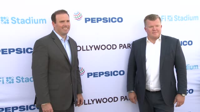 jason gannon and kris licht at pepsico celebrates sofi partnership with firstever tailgate for venue's construction workers on october 10 2019 in... - licht stock videos & royalty-free footage