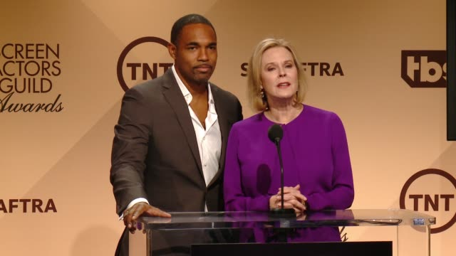 jason george and sag awards committee chair jobeth williams at the 22nd annual screen actors guild awards nominations announcement at silverscreen... - jason george stock videos and b-roll footage