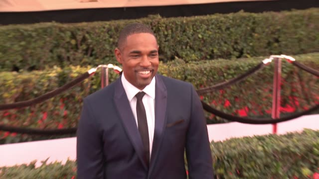 jason george at 23rd annual screen actors guild awards arrivals at the shrine expo hall on january 29 2017 in los angeles california - jason george stock videos and b-roll footage