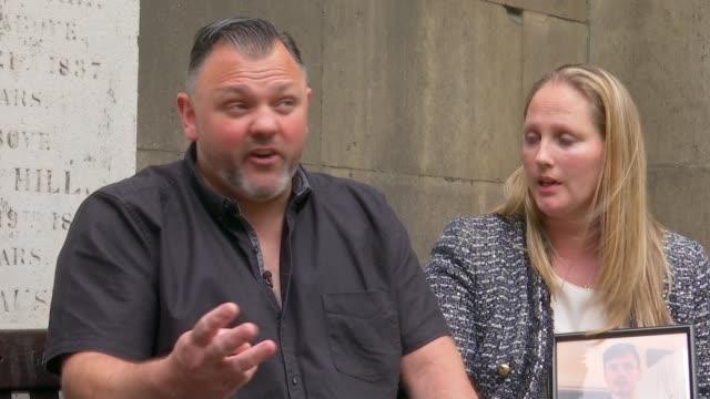 gang member sentenced england london ext steve isaacs and sharon kendall interview sot - jason isaacs stock videos & royalty-free footage