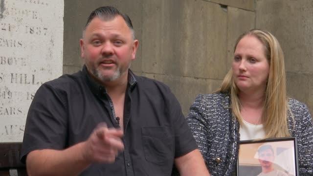 gang member sentenced england london ext steve isaacs interview sot alongside sharon kendall - jason isaacs stock videos & royalty-free footage