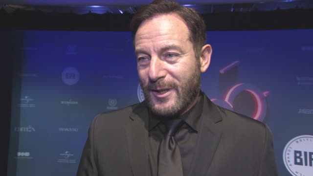 interview jason isaacs on seeing all the films watching them on the set of 'star trek' women in film 'star wars' at british independent film awards... - jason isaacs stock videos & royalty-free footage