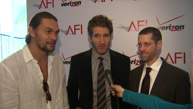 Jason Momoa David Benioff and Dan Weiss on AFI and on the series 'Game of Thrones' at AFI Awards 2012 Luncheon in Beverly Hills CA on 1/13/12