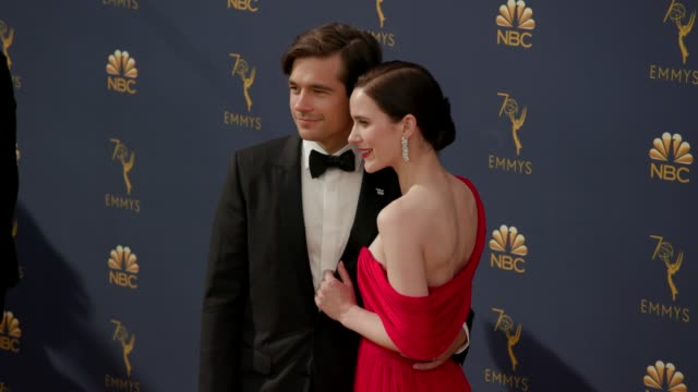 jason ralph and rachel brosnahan at the 70th emmy awards arrivals at microsoft theater on september 17 2018 in los angeles california - 70th annual primetime emmy awards stock videos and b-roll footage