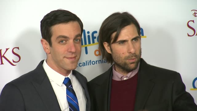jason schwartzman bj novak at saving mr banks los angeles premiere in burbank ca on 12/9/2013 - b.j. novak stock videos and b-roll footage
