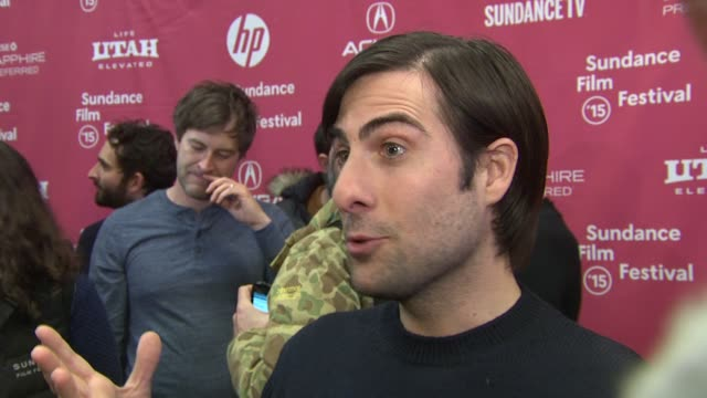 """jason schwartzman on his new film and wild nights in florida at """"the overnight"""" world premiere - 2015 sundance film festival at eccles center theatre... - park city stock videos & royalty-free footage"""