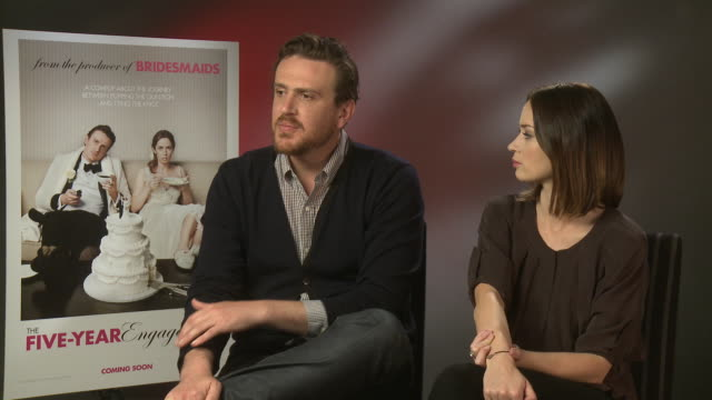 jason segel emily blunt on the film being old style romantic comedy at the fiveyear engagement interview at soho hotel on june 14 2012 in london... - romantic comedy stock videos and b-roll footage