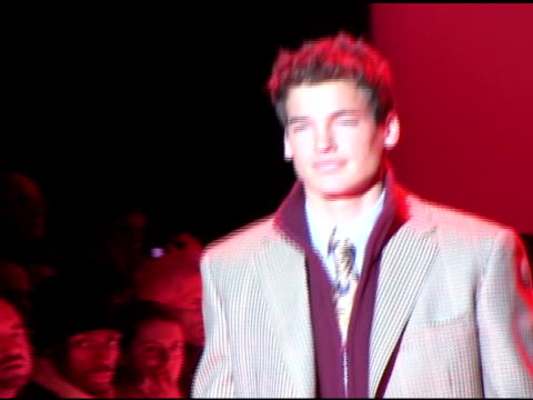 jason shaw, modeling patterned blazer, walking on catwalk, runway at mercedes benz fashion week tent. - 2002 stock videos & royalty-free footage