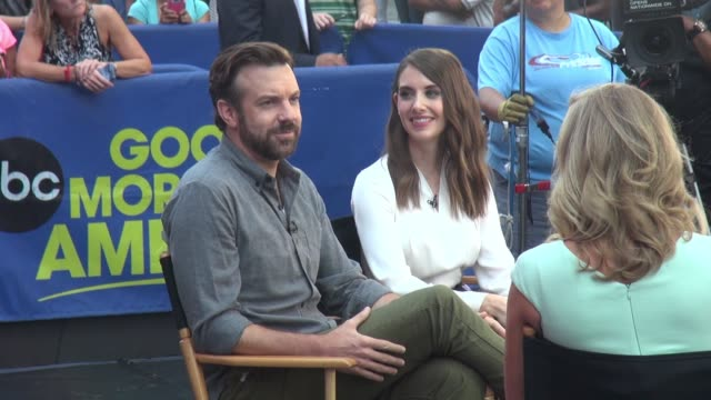 Jason Sudeikis and Alison Brie at 'Good Morning America' signs for fans on September 08 2015 in New York City