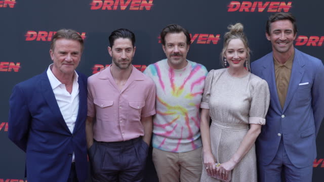 vídeos de stock, filmes e b-roll de jason sudeikis nick hamm iddo goldberg judy greer and lee pace at the los angeles premiere of driven on july 29 2019 in hollywood california - judy greer