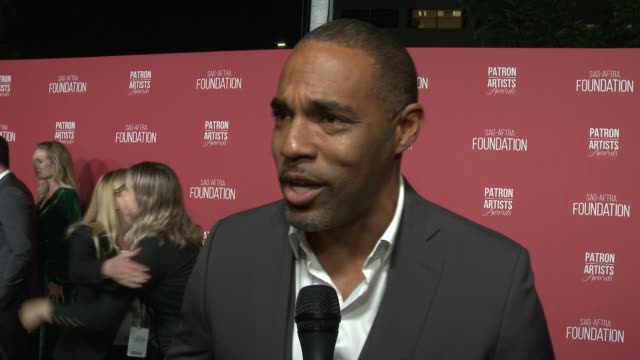 interview jason winston george on the event at the sagaftra foundation's 3rd annual patron of the artists awards at wallis annenberg center for the... - jason george stock videos and b-roll footage