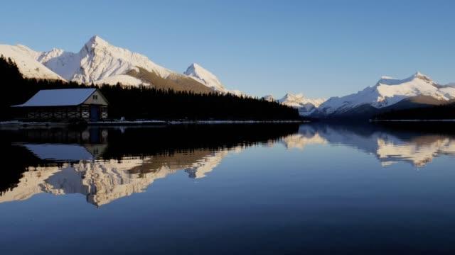 jasper national park maligne lake spirit island , alberta canada - cottage stock videos & royalty-free footage
